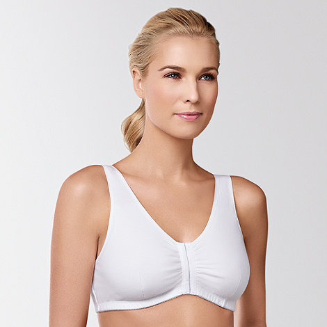 Amoena - White +Frances+ cotton front fastening post surgery bra