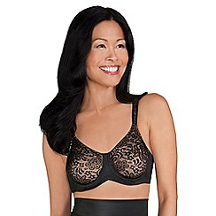Amoena - Black lace 'Annette' underwired non-padded post surgery bra