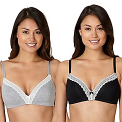 Debenhams - Pack of two black and grey lace trim non wired bras
