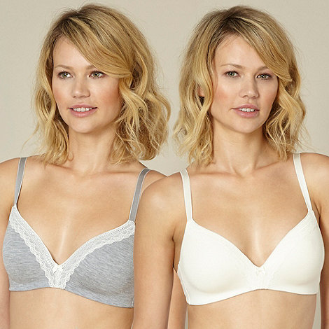 Debenhams - Pack of two grey and ivory lace trim non wired bras