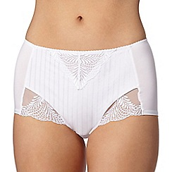 Spirit - White striped high waisted tummy smoothing briefs
