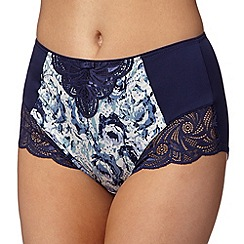 Spirit - Navy Juliette rose print high-waisted tummy smoothing briefs