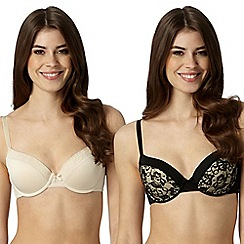 Debenhams - Pack of two black and natural lace trim t-shirt bras