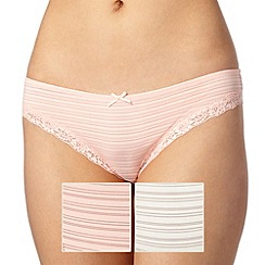 Debenhams - Pack of two light peach burn out brazilian briefs