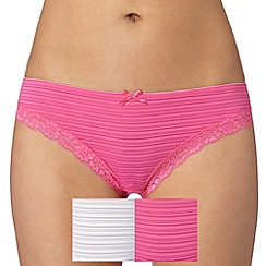 Debenhams - Pack of two bright pink and white burnout striped brazilian briefs