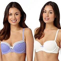 Debenhams - Pack of two light purple and cream lace trim balcony bras