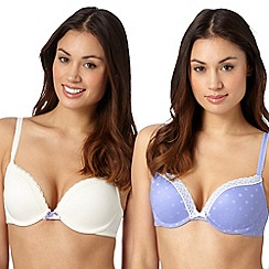 Debenhams - Pack of two light purple and cream lace trim push up bras
