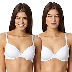 Debenhams - Pack of two white cotton blend t-shirt bras