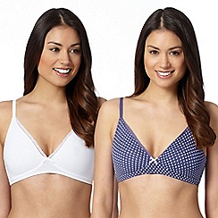 Debenhams - Pack of two blue non wired crop top bras