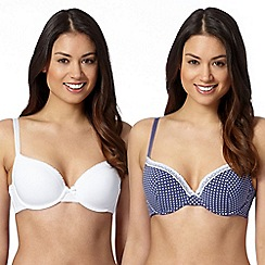 Debenhams - Pack of two blue spotted and white plain t-shirt bras