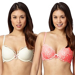 Debenhams - Pack of two coral embroidered t-shirt bras