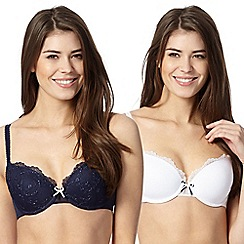 Debenhams - Pack of two navy and white embroidered t-shirt bras