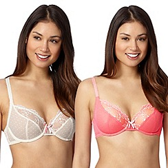 Debenhams - Pack of two coral embroidered non padded bras