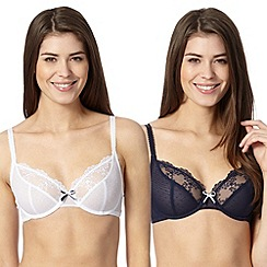 Debenhams - Pack of two navy and white embroidered non padded bras