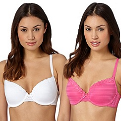 Debenhams - Pack of two bright pink and white burnout striped t-shirt bras