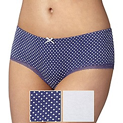 Debenhams - Pack of two cotton spot blue shorts