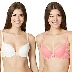 Debenhams - Pack of two peach and cream embroidered push up bra