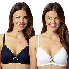 Debenhams - Pack of two white and navy spotted non wired t-shirt bras