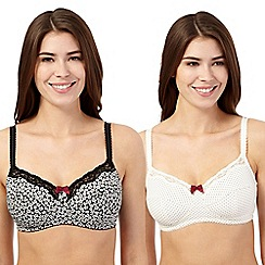 Miriam Stoppard Nurture - Pack of two cream polka dot and floral maternity bras