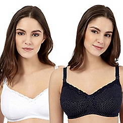 Miriam Stoppard Nurture - Pack of two white and navy polka dot nursing bras