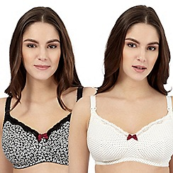 Miriam Stoppard Nurture - Pack of two cream polka dot and navy floral nursing bras