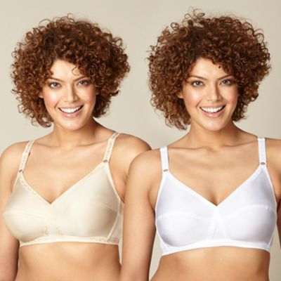 Pack of two natural and white non-wired bras