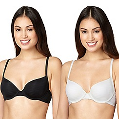 Debenhams - Pack of two black & white shadow striped t-shirt bras