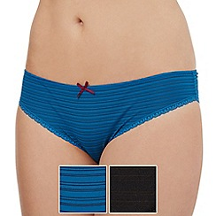 Debenhams - Pack of two black and turquoise burnout striped brazilian briefs