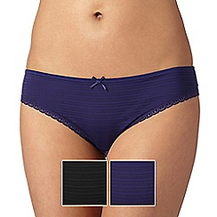Debenhams - Pack of two blue and black burnout striped brazilian briefs