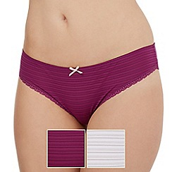 Debenhams - Pack of two purple and white burnout striped brazilian briefs