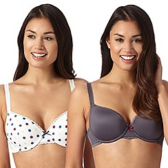 Debenhams - Pack of two grey and white spotted t-shirt bras