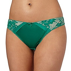 Ultimate - Green lace hip satin thong