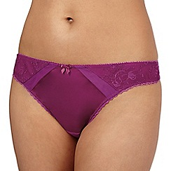Ultimate - Dark pink satin embroidered trim thong