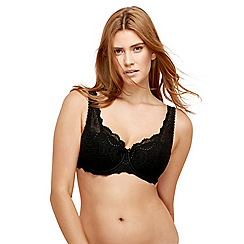 Playtex - Black lace underwired padded balcony bra