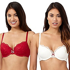 Debenhams - Pack of two red and white embroidered mesh t-shirt bras