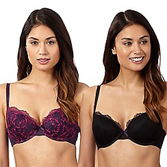 Debenhams - Pack of two purple and black embroidered mesh t-shirt bras