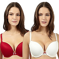 Debenhams - Pack of two red and ivory embroidered mesh push up bras