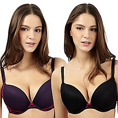 Debenhams - Pack of two purple and black embroidered mesh push up bras