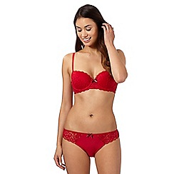 Debenhams - Red lace balcony bra