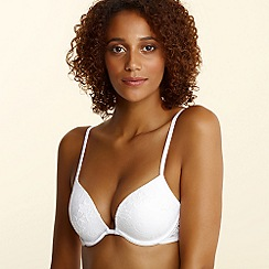 Debenhams - White all over lace liquid filled push up plunge bra