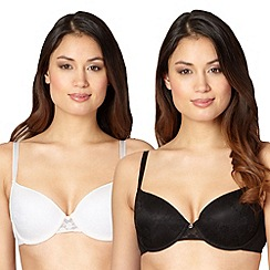 Debenhams - Pack of two black and white lace t-shirt bras