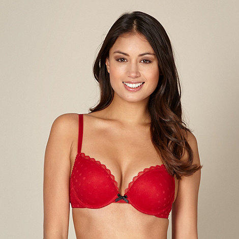 Debenhams - Pack of two red and black spotted mesh push up bras