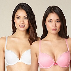 Debenhams - Pack of two pink and white spotted mesh push up bras