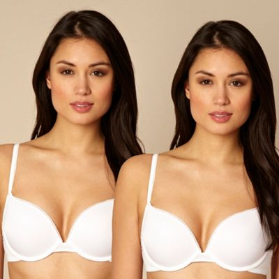 Pack of two white and natural lightly padded plunge bras