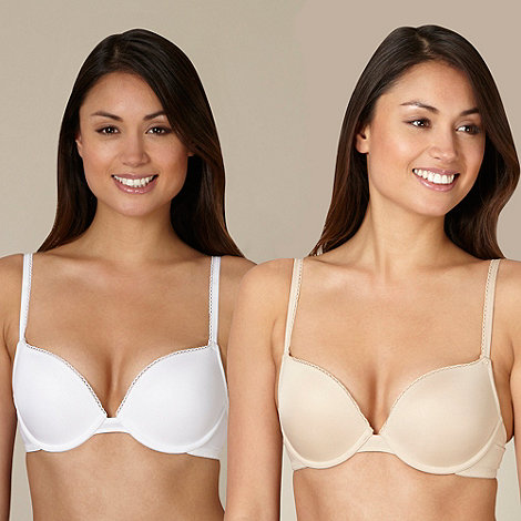 Debenhams - Pack of two white and nude boost plunge bras