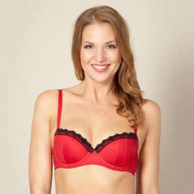 Pack of two dark red spotted balcony bras