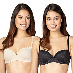 Debenhams - Pack of two black and nude balcony t-shirt bras