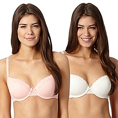 Debenhams - Pack of two light peach burn out t-shirt bras
