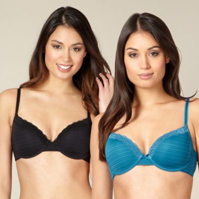 Pack of two turquoise and black burnout striped t-shirt bras