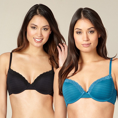 Debenhams - Pack of two turquoise and black burnout striped t-shirt bras